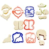 Andrew James Set of Five Different Children's Sandwich Cutters - Also Ideal For Baking - Includes Dinosaurs, Vehicles, Dolphins, Butterflies And Elephant Cutters.