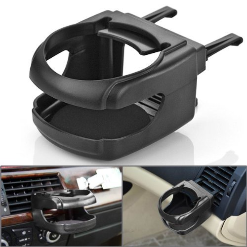 1Pc Black Hard Clip-On Two Clips Fixed On Car Existing Air Conditioner Vent Mount Insert Soft Drink Beverage Water Coffee Cup Bottle Can Stand Holder Universal For Sedan Coupe Jeep Convertible front-901369