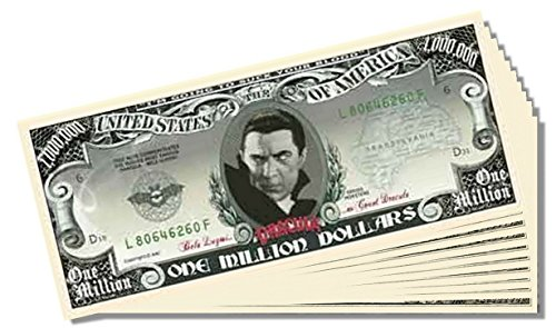 Dracula Million Dollar Bill - 10 Count with Bonus Clear Protector & Christopher Columbus Bill