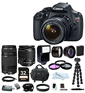 Canon EOS Rebel T5 DSLR Camera with EF-S 18-55mm IS II & 75-300mm Zoom Lens + Spare Battery + Auto Slave Flash + Wide Angle and Telephoto Lenses+32GB Deluxe Accessory Kit