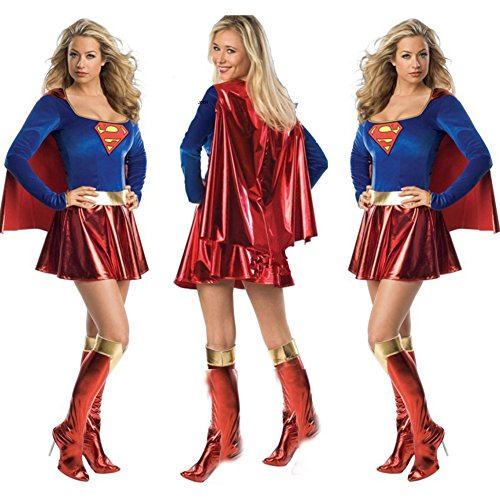 Nikki's Dressing Room Sexy Long-sleeved Supergirl Costume Role Play (Supergirl Sexy Costume)
