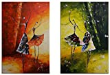 Neonphoenix Christmas Holiday Gift 100% Hand-painted Oil Painting Wood Framed Four People Dancing in the Wind Home Decoration Modern Landscape Paintings on Canvas 2pcs Ready to Hang for Living Room