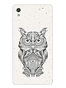 Justgirlythings Hand Drawn Hooter Owl Hard Back Case Cover For Sony Z2 Matte Finish