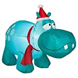 CHRISTMAS INFLATABLE LED LIGHTED 4' BLUE HIPPO WITH SNOWFLAKES AIRBLOWN YARD PROP