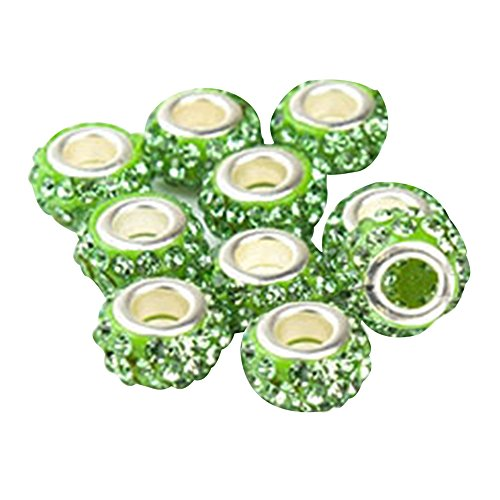 Happy Hours - 10 Pcs Charm Round Spacer Beads with Bling Crystal Rhinestone Suitable for Pandora Style Bracelets(Light Green)