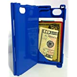 iFunner, Apple iPhone 4 4s Case,Hard Plastic Durable ID (holds 4) Credit Card Slim Wallet Cases, AT&T Verizon Sprint,Blue ~ iFunner