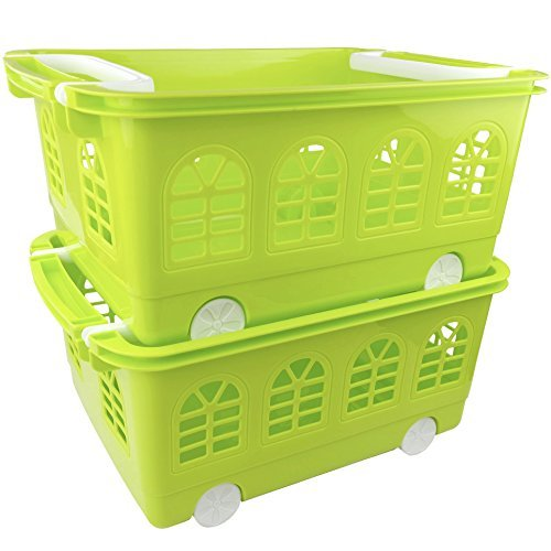 Nicesh Baby Stacking Storage Baskets With Wheels, 2-pack, 17.72