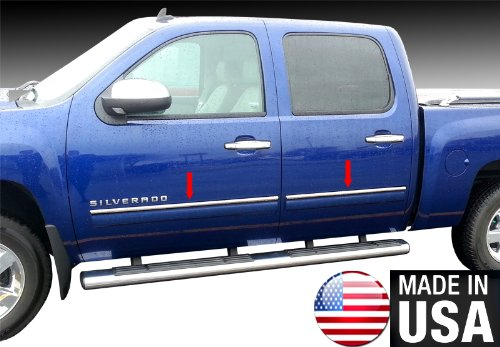 Made In USA! 09-13 Chevy Silverado Full Size 4 DR Crew Cab Rocker Panel Chrome Stainless Steel Body Side Moulding Molding Trim Cover Top 1