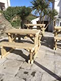 HEAVY DUTY 6FT (180CM) GARDEN BENCH WALK IN PUB PICNIC TABLE, HAND-MADE WITH PRESSURE TREATED TIMBER. VARIOUS SIZES AVAILABLE
