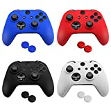 Mudder 4 Colors Silicone Skin Protector Cover Case for Xbox One Controller with 4 Pairs of Matching Thumb Grips