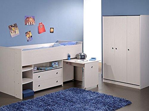 Kinderzimmer Snoopy 2, Hochbett + Schrank 3-türig, Kiefer-Nb weiß, Kinderbett jetzt kaufen