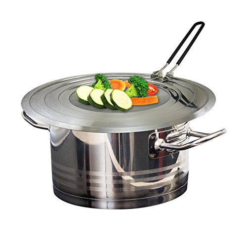 Stainless Steel Splatter Guard with Folding Silicone Handle - Multipurpose Splash Guard Grease Mess Eliminator, Fits Multiple Size Pots and Pans (Small Green Dutch Oven compare prices)