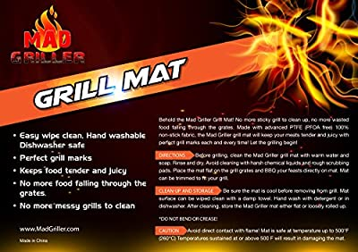 BBQ Grill Mat From Mad Griller (Set of 2) - Heavy Duty Nonstick, Reuseble, PFOA Free, Dishwasher Safe. Also Perfect As a Baking Mat for Oven