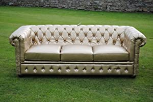 Gold Bycast Leather Chesterfield Diamante 3 Seater Setee sofa from Chesterfield
