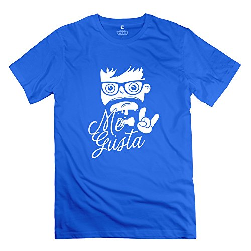Jeff Men'S Geek Me Gusta Face Shirts Royalblue Medium