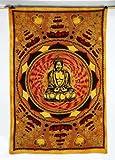Buddha Wall Hanging Tapestry Mustard Table Runner Cotton Wall Cloth Indian Gi...