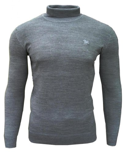 Soul Star Dagenham Men's Roll Neck Fashion Casual Jumper Top Light Grey Large
