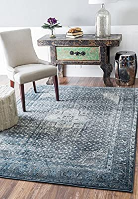 Traditional Vintage Inspired Overdyed Fancy Blue Rug