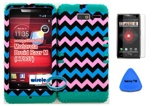 Hybrid Cover Bumper Case For Motorola Droid Razr M (Xt907, 4G Lte, Verizon) Protector Baby Pink, Blue, Black Chevron Pattern Snap On + Teal Silicone (Included Wristband, Screen Protector And Pry Tool By Wirelessfones) front-1005261