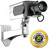 "Blindspotter Motion Detector Dummy Camera - Best Inexpensive Alternative / Supplement For Security - Includes *FREE* E-book ""How to Improve Your Home Security"" - Decoy Security Camera - Fake Security Signs Included - Motorized Panning Movement With Motion Sensor System - Blinking Red LED Light - Wireless - For Indoor and Outdoor - 100% Money Back Guarantee"