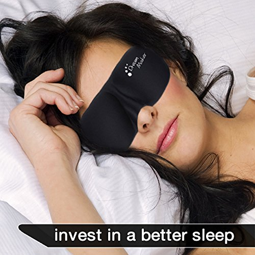Sleep Mask - #1 Rated Dream Maker® USA Therapy - Anti-Aging - Anti Bacterial (Ultra Soft Silk) Premium Quality Sleeping Mask - Contoured Eye Mask with Carry Pouch and Ear Plugs - Very Lightweight With Adjustable Velcro Strap - For Men, Women, Kids, Shift Work, Meditation & Travel, Insomnia