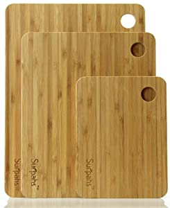 """Surpahs Kitchen 3-Layer Cross-Laminated Bamboo Cutting Board Set (3 Pieces, 13""""/11""""/8"""")"""