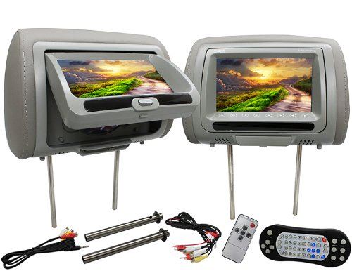 Absolute Dph-770Pkgg 7.5-Inch Pair Headrest Tft/Lcd Monitor Include One Side Dvd/Usb/Sd Card Multimedia Player (Grey)