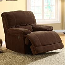 Big Sale Homelegance 9722-1PW Upholstered Power Recliner Chair, Dark Brown, 100-Percent Polyester Fabric
