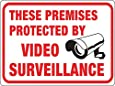"Hy-Ko Plastic Sign White 9"" X 12"" Protected By Video Surveillance Polystyrene"