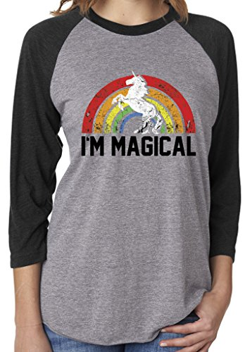 SoRock Unisex I'm Magical Rainbow Unicorn 3/4 Sleeve Tri Blend Tshirt Xlarge Heather Grey