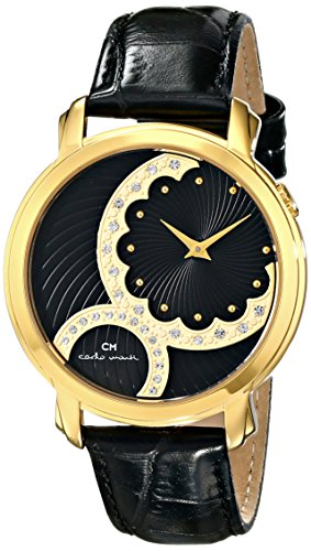 Carlo Monti Women's Quartz Watch with Black Dial Analogue Display and Black Leather Bracelet CM802-222