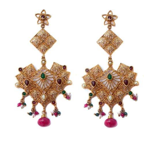 C&S Filigree Long Designer Earring Red Green For Women (multicolor)