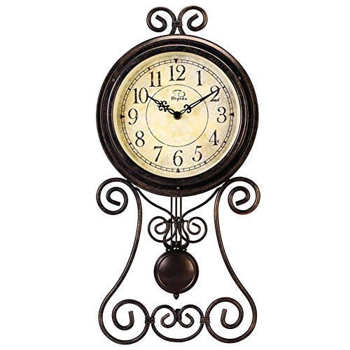 European Style Retro Antique Retro Vintage-Inspired Wrought Iron Craft Wall Clock with Pendulum For Hall,Restaurant,Living Room,Bedroom Home Decor Wall Clocks DYD-66082 (Big Wrought Iron Clock compare prices)