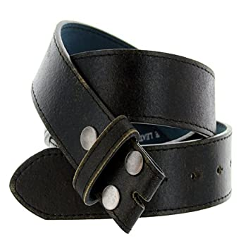 "Men's Vintage Look Distressed Leather Strap Belt Snap On (L(37""-39""), Black)"