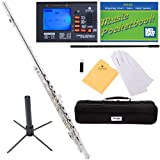 Mendini MFE-S+SD+PB+92D Silver Plated Closed Hole C Flute with 1 Year Warranty, Case, Tuner, Stand, Cleaning Rod and Cloth, Grease, and Gloves