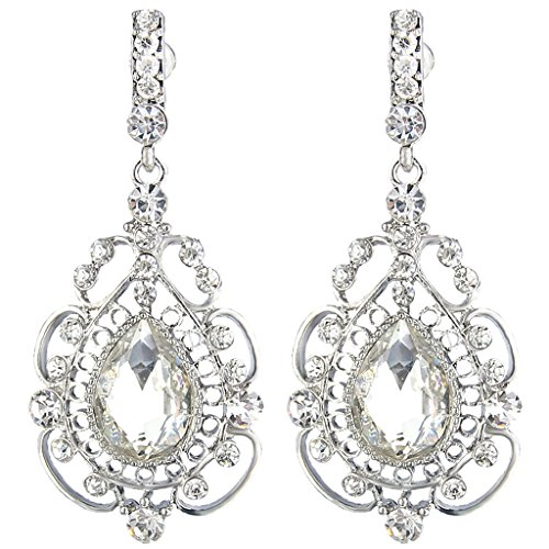 JoinMe Women's Vintage Inspired Crystal Floral Pattern Chandelier Pierced Dangle Earrings Silver-Tone (Vintage Rhinestone Earrings compare prices)