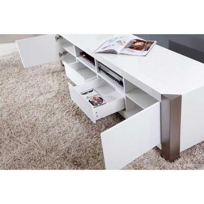 Cheap B-Modern BM-100 Composer TV Stand Finish: White High Gloss and Brushed Stainless Steel (BM-100-WHT)