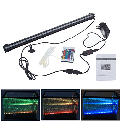 Lemonbest® 6W Underwater Aquarium Led Light Bar 46Cm Flood Light Strip Smd 5050 18Led Fish Tank Air Curtain Bubble Stone Light With 24 Key Remote(Rgb)
