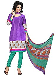 Fashion Queen Presents Purple Colored Unstitched Dress Material