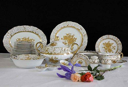Porcelain Dinnerware Set, 36 Pcs, White and Gold, Raised