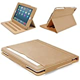 MOFRED® Black & Tan Apple iPad Air 2 (Launched Oct. 2014) Leather Case-MOFRED®- Executive Multi Function Leather Standby Case for Apple New iPad Air 2 with Built-in magnet for Sleep & Awake Feature (iPad Air 2, Brown)