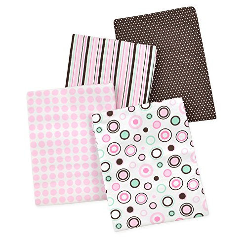 Carter's 4 Piece Flannel Receiving Blankets, Circles/Pink/Mint/White/Brown