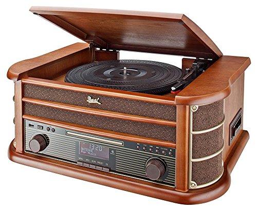 NR 50 DAB Stereo-Nostalgie-Komplettanlage mit Plattenspieler (UKW/DAB(+) Radio, CD (MP3), USB, Kassettenabspieler, AUX-In, Direct-Encoding-Funktion, Fernbedienung) Braun