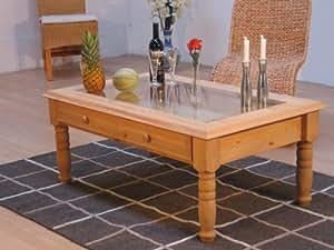 Couchtisch glasplatte tisch wohnzimmertisch kiefer for Amazon tisch