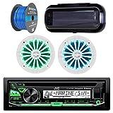 JVC KD-R97MBS In-Dash Marine Boat Bluetooth Radio USB CD Receiver Bundle + Cover With Pair Enrock 6.5
