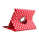 TOPCHANCES Fashionable Polka Dot Case with 360 Degree Rotating Stand and Magenetic Functions for iPad 2 3 4-Red