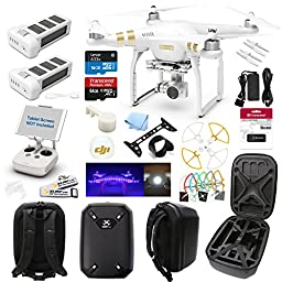 DJI Phantom 3 4K Drone Quad Copter W/ Hardshell Backpack and Everything You Can Think of Kit: 1 Extra DJI Batteries, 1x 64GB SD Card, Snap on Prop Guards, Surmik Gimbal Protector and More