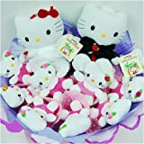 Forever Love Flower Bouquet of Dolls, 2 Big & 9 Small Hello Kitty