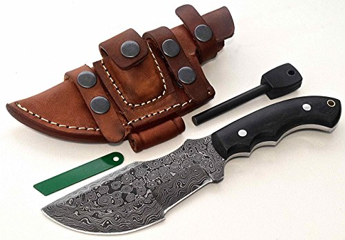 CFK Cutlery Company USA Custom Handmade RAINDROP DAMASCUS Steel Micarta TRACKER Hunting Skinning Bushcraft Knife Horizontal Leather Sheath & Fire-Starter