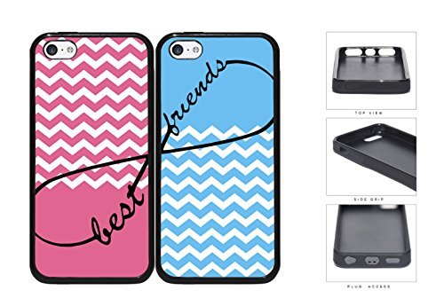 Pink Blue Matching Chevron Best Friends Set Rubber Silicone Tpu Cell Phone Case Apple Iphone 5C